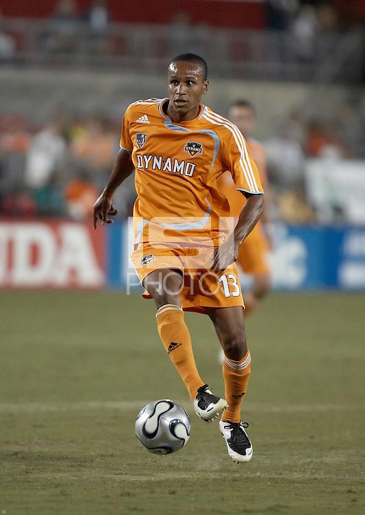 Houston Dynamo midfielder Ricardo Clark works the ball upfield.  New England Revolution beat Houston Dynamo 1-0 at Robertson Stadium in Houston, TX on May 19, 2007.