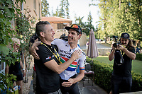 stage winner Daryl Impey (ZAF/Mitchelton-Scott) celebrating with DS Matt Wilson after returning to the team hotel<br /> <br /> Stage 9: Saint-Étienne to Brioude (170km)<br /> 106th Tour de France 2019 (2.UWT)<br /> <br /> ©kramon