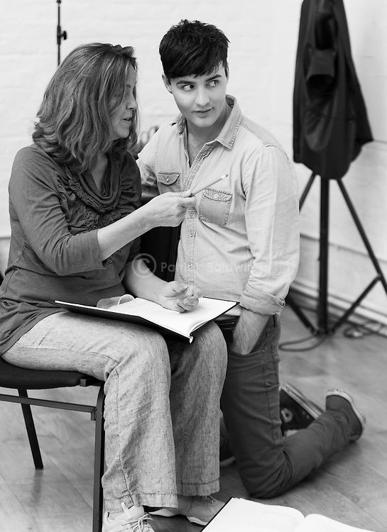 """King Lear"" rehearsed reading rehearsals. Old Vic Theatre. Director: Jonathan Miller. Greta Scacchi, Jos Vantyler."