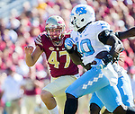 Florida State safety Stephen Gobbard pursues North Carolina's Andre Smith after a blocked Florida State field goal in the first half of an NCAA college football game in Tallahassee, Fla., Saturday, Oct. 1, 2016. (AP Photo/Mark Wallheiser)