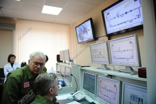 In the control room of the Mars 500 project in Moscow, an expirement to simulate the conditions of isolation that would be experienced by a manned mission to Mars, in the minutes after the six man crew entered the capsuled enviroment at Moscow's Institute of Biomechanical Problems. March 31, 2009