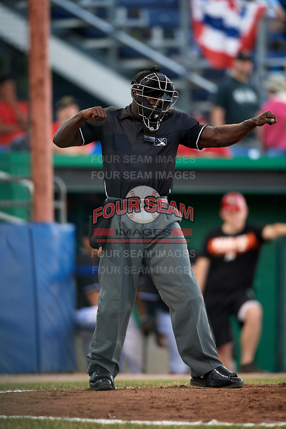 Umpire James Jean during a game between the State College Spikes and Batavia Muckdogs on July 7, 2018 at Dwyer Stadium in Batavia, New York.  State College defeated Batavia 7-4  (Mike Janes/Four Seam Images)
