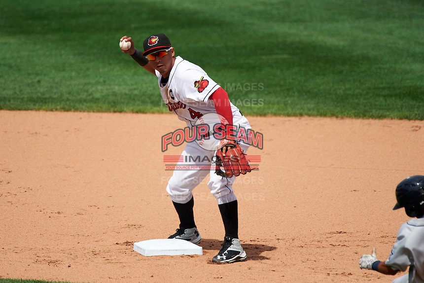Rochester Red Wings shortstop Wilfredo Tovar (4) turns a double play during a game against the Columbus Clippers on June 16, 2016 at Frontier Field in Rochester, New York.  Rochester defeated Columbus 6-2.  (Mike Janes/Four Seam Images)