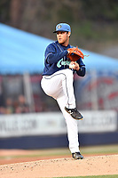 Asheville Tourists pitcher Nick Kennedy (8) delivers a pitch during a game against the Columbia Fireflies at McCormick Field on April 12, 2018 in Asheville, North Carolina. The Fireflies defeated the Tourists 7-5. (Tony Farlow/Four Seam Images)