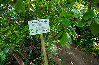Sign requesting dog walkers to use a lead to ptotect ground nesting birds - Norfolk, June