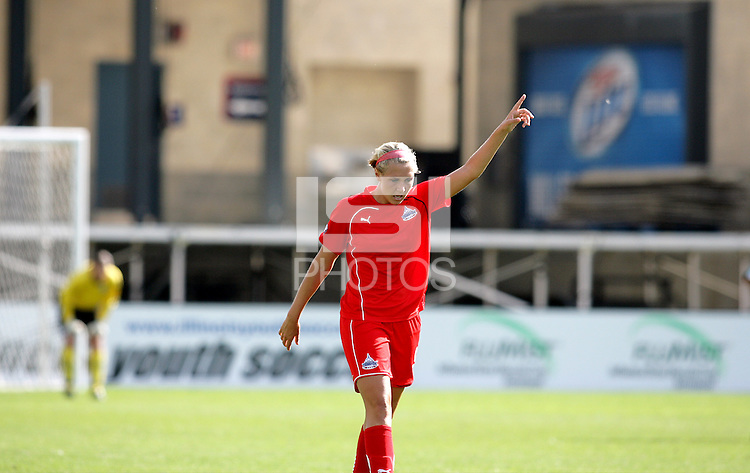 Washington Freedom midfielder Allie Long points skyward after scoring the game winning goal in the 89th minute.  The Washington Freedom defeated the Chicago Red Stars 3-2 at Toyota Park in Bridgeview, IL on July 26, 2009.