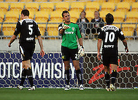 Phoenix keeper Glen Moss berates his defenders after making another save during the A-League match between Wellington Phoenix and Newcastle Jets at Westpac Stadium, Wellington, New Zealand on Sunday, 4 January 2009. Photo: Dave Lintott / lintottphoto.co.nz