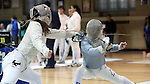 12 February 2017: Duke's Haley Fisher (right) and Boston College's Gabrielle Chau (left) during Saber. The Duke University Blue Devils hosted the Boston College Eagles at Card Gym in Durham, North Carolina in a 2017 College Women's Fencing match. Duke won the dual match 19-8 overall, 6-3 Foil, 5-4 Epee, and 8-1 Saber.