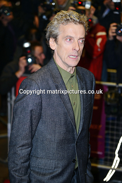 NON EXCLUSIVE PICTURE: MATRIXPICTURES.CO.UK<br /> PLEASE CREDIT ALL USES<br /> <br /> WORLD RIGHTS<br /> <br /> Scottish actor Peter Capaldi attending the UK premiere of Dom Hemingway, at The Curzon Mayfair in London. <br /> <br /> OCTOBER 28th 2013<br /> <br /> REF: SLI 137031