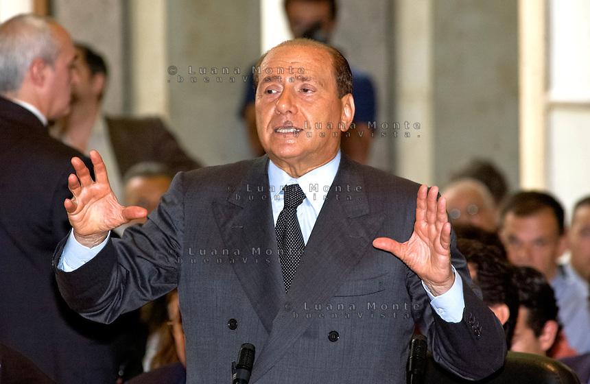 Silvio Berlusconi, dichiarazione spontanea durante il processo SME. Milano, 5 maggio 2003...Silvio Berlusconi, spontaneuos statement during the SME trial. Milan, May 5, 2003.