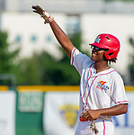 WATERBURY,  CT-072719JS39-- D-Bat's Tavion Vaughns (11) celebrates after ripping an two-RBI base hit during their Mickey Mantle World Series game against Cyclone Ponce (PR) Saturday at Municipal Stadium in Waterbury.  <br /> Jim Shannon Republican-American