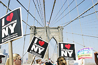 Thousands march across the Brooklyn Bridge and on to City Hall on August 28, 2004 in New York City for the Planned Parenthood March for abortion rights during the Republican National Convention.