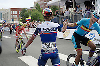 Tom Boonen (BEL/Etixx-QuickStep) high-fives Peter Sagan (SVK/Tinkoff-Saxo) behind the finish line as Sagan is the new World Champion<br /> <br /> Elite Men Road Race<br /> UCI Road World Championships Richmond 2015 / USA
