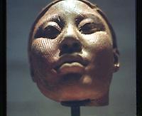 World Civilization:  Nigeria--head of King (Oni), 12th, 14th C.  Terracotta.  Kimball Art Museum, Fort Worth TX.
