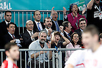 The President of the Region of Madrid (Comunidad de Madrid) Igancio Gonzalez; the Minister of Education, Culture and Sports Jose Ignacio Wert, Prince Felipe of Spain; Juan de Dios Roman, President of the Spanish Handball Federation and the Secretary of Sports (Secretario de Estado para el Deporte) Miguel Cardenal celebrate during 23rd Men's Handball World Championship preliminary round match Hungary v Spain.January 17,2013. (ALTERPHOTOS/Acero)