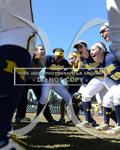Michigan Wolverines Softball team huddle, including outfielder Sierra Lawrence (22), catcher Lauren Connell (14), outfielder Mary Sbonek (20), before a game against the Bethune-Cookman on February 9, 2014 at the USF Softball Stadium in Tampa, Florida.  Michigan defeated Bethune-Cookman 12-1.  (Copyright Mike Janes Photography)