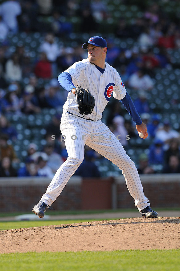 SEAN MARSHALL, of the Chicago Cubs  , in action against the Pittsburgh Pirates  during the Cubs game in Chicago, IL on April 20, 2008. The Cubs won the game 13-6.