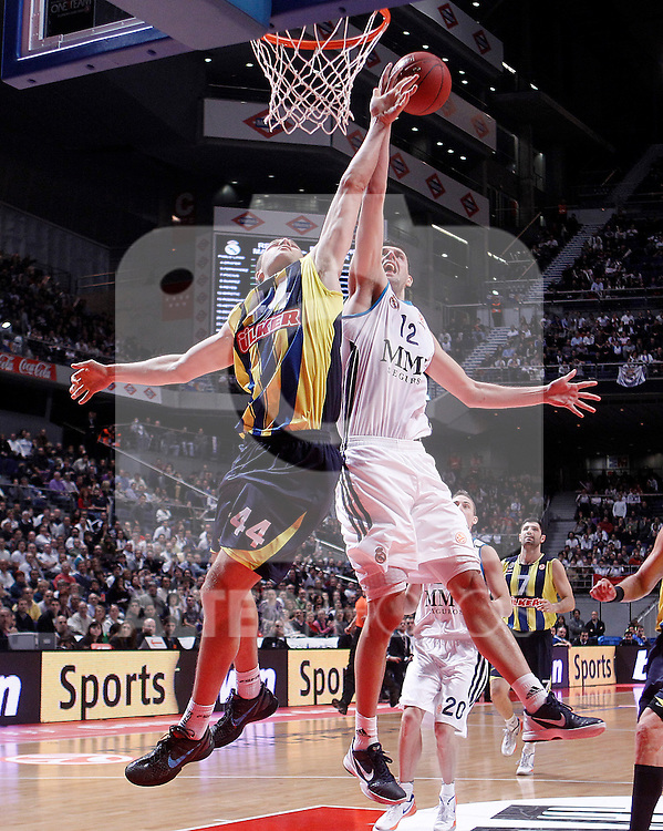 Real Madrid's Nikola Mirotic (r) and Fenerbahce Ulker Istanbul's Bojan Bogdanovic during Euroleague 2012/2013 match.November 30,2012. (ALTERPHOTOS/Acero)