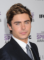 SANTA MONICA, CA - FEBRUARY 25: Zac Efron arrives at the 2012 Film Independent Spirit Awards at Santa Monica Pier on February 25, 2012 in Santa Monica, California.