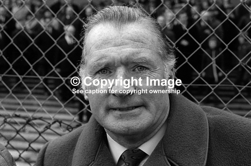 Jimmy McAlinden, manager, Distillery FC, Belfast, N Ireland, May 1971, 197105000241<br /> <br /> Copyright Image from Victor Patterson, 54 Dorchester Park, Belfast, UK, BT9 6RJ<br /> <br /> t1: +44 28 9066 1296<br /> t2: +44 28 9002 2446<br /> m: +44 7802 353836<br /> e: victorpatterson@me.com<br /> <br /> www.victorpatterson.com<br /> <br /> IMPORTANT: Please see my Terms and Conditions of Use at www.victorpatterson.com