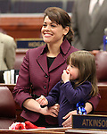 Nevada Assemblywoman Teresa Benitez-Thompson and her daughter Lillian on the Assembly floor Thursday, May 26, 2011, at the Legislature in Carson City, Nev. .Photo by Cathleen Allison