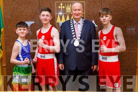 The Mayor of Tralee Cllr Jim Finucane wishing the Murray brothers at the Council Chambers on Monday, best wishes on their boxing championship bouts in the upcoming Munster Boxing Championships. <br /> L to r: John Murray, Cllr Jim Finucane (Mayor of Tralee), Tony and Mike Murray