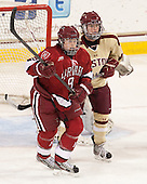 Lyndsey Fry (Harvard - 9), Dru Burns (BC - 7) - The Boston College Eagles defeated the visiting Harvard University Crimson 3-1 in their NCAA quarterfinal matchup on Saturday, March 16, 2013, at Kelley Rink in Conte Forum in Chestnut Hill, Massachusetts.