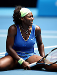 Agony for USA's Serena Williams against Argentina's Gisela Dulko in the second round of the women's singles