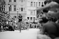 Chris Froome (GBR/SKY) riding through the many fans on his way from the start podium<br /> <br /> stage 3: Antwerpen (BEL) - Huy (BEL)<br /> 2015 Tour de France