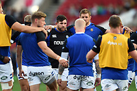Nathan Catt of Bath Rugby looks on in a pre-match huddle. Gallagher Premiership match, between Bristol Bears and Bath Rugby on August 31, 2018 at Ashton Gate Stadium in Bristol, England. Photo by: Patrick Khachfe / Onside Images