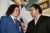 Henry Tuipea interviews Youngsportswoman of the Year Rebecca Spence. ASB College Sport Young Sportsperson of the Year Awards 2006, held at Eden Park on Thursday 16th of November 2006.<br />