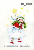 Interlitho, CHRISTMAS CHILDREN, paintings+++++,girl,stars,robin,KL5982,#xk#