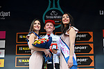 Sam Oomen (NED) Team Sunweb retains the young riders Maglia Bianca on the podium at the end of Stage 5 of the Race of the Two Seas, the 54th Tirreno-Adriatico 2019, running 180km from Colli al Matauro to Recanati, Italy. 17th March 2019.<br /> Picture: LaPresse/Gian Mattia D'Alberto | Cyclefile<br /> <br /> <br /> All photos usage must carry mandatory copyright credit (© Cyclefile | LaPresse/Gian Mattia D'Alberto)
