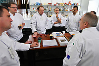 Melbourne, 30 May 2017 - Tom Milligan of the Bocuse d'Or Academy Australia briefs the judges at the Australian selection trials of the Bocuse d'Or culinary competition held during the Food Service Australia show at the Royal Exhibition Building in Melbourne, Australia. Photo Sydney Low