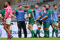 Colin Slade of Pau is congratulated by teammates after scoring a try during the Top 14 match between Pau and Stade Francais at  on September 30, 2017 in Pau, France. (Photo by Manuel Blondeau/Icon Sport)