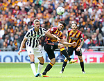 Bradford's Nathaniel Knight-Percival tussles with Millwall's Steve Morison during the League One Play-Off Final match at Wembley Stadium, London. Picture date: May 20th, 2017. Pic credit should read: David Klein/Sportimage
