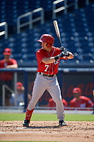 Washington Nationals Jake Alu (7) at bat during an Instructional League game against the Miami Marlins on September 26, 2019 at FITTEAM Ballpark of The Palm Beaches in Palm Beach, Florida.  (Mike Janes/Four Seam Images)