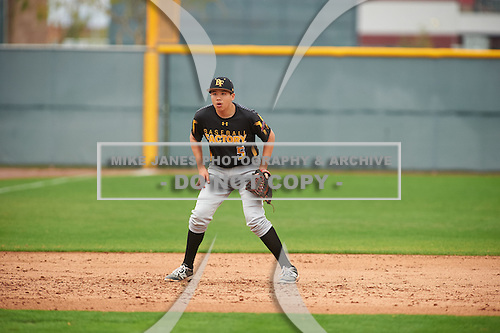 Jonathan Clark (5) of Mission Hills High School in San Marcos, California during the Under Armour All-American Pre-Season Tournament presented by Baseball Factory on January 15, 2017 at Sloan Park in Mesa, Arizona.  (Zac Lucy/Mike Janes Photography)