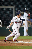Fort Myers Miracle catcher Alex Swim (8) at bat during a game against the Brevard County Manatees on April 13, 2016 at Hammond Stadium in Fort Myers, Florida.  Fort Myers defeated Brevard County 3-0.  (Mike Janes/Four Seam Images)