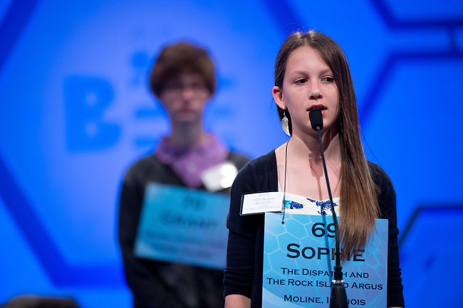 Speller 69 Sophie Bergman competes in the preliminary rounds of the Scripps National Spelling Bee at the Gaylord National Resort and Convention Center in National Habor, Md., on Wednesday,  May 30, 2012. Photo by Bill Clark