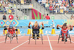November 17 2011 - Guadalajara, Mexico:  Christy Campbell and Rachael Burrows during the 100m - T34 final in the Telmex Athletic's Stadium at the 2011 Parapan American Games in Guadalajara, Mexico.  Photos: Matthew Murnaghan/Canadian Paralympic Committee