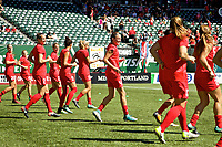 Portland, OR - Saturday September 02, 2017: Emily Menges during warmups before a regular season National Women's Soccer League (NWSL) match between the Portland Thorns FC and the Washington Spirit at Providence Park.