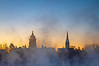 January 21, 2019; The Dome and Basilica steeple with a misty St. Joseph Lake. (Photo by Matt Cashore)