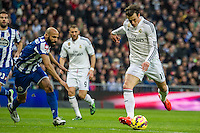 Real Madrid´s Gareth Bale and Deportivo de la Coruna's Manuel Pablo during 2014-15 La Liga match between Real Madrid and Deportivo de la Coruna at Santiago Bernabeu stadium in Madrid, Spain. February 14, 2015. (ALTERPHOTOS/Luis Fernandez) /NORTEphoto.com