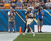 Pitt wide receiver Kevin Weatherspoon (88) failed to get his feet inbounds on this failed touchdown catch. Iowa Hawkeyes defeated the Pitt Panthers 24-20 at Heinz Field, Pittsburgh Pennsylvania on September 20, 2014.