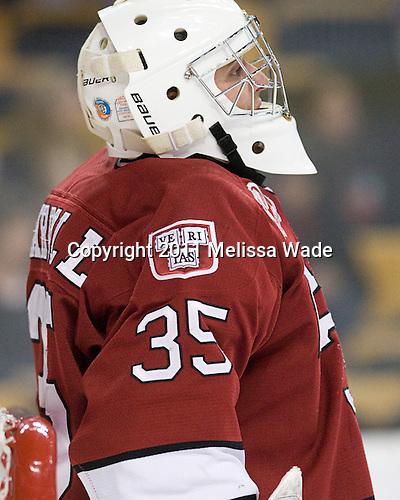 Ryan Carroll (Harvard - 35) - The Northeastern University Huskies defeated the Harvard University Crimson 4-0 in their Beanpot opener on Monday, February 7, 2011, at TD Garden in Boston, Massachusetts.