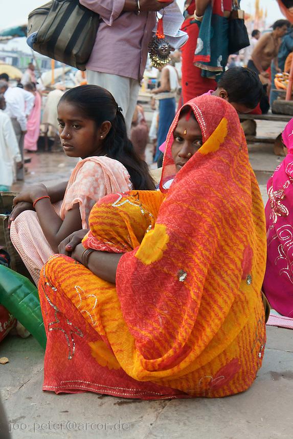 mother and child at river Ganga, Varanasi
