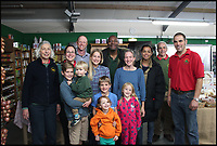 BNPS.co.uk (01202 558833)<br /> Pic: SimonHolland/BNPS<br /> <br /> Owner Simon Holland at Washingpool Farm Shop with the cast from Broadchurch.<br /> <br /> While the whole country has been enjoying the final series of TV drama Broadchurch, no one is relishing the show more than the businesses of West Bay.<br /> <br /> The 'Broadchurch effect' has sent visitor numbers to the sleepy Dorset town, where the show is set, skyrocketing in the past four years.<br /> <br /> And the latest, and final, series, which finishes on Monday, has only fanned the flames, with a host of new businesses benefiting from their association with the show.<br /> <br /> Tourism organisation Visit Dorset has experienced an increase of 133 per cent in enquries and bookings on its website.<br /> <br /> Local businesses which feature on screen have also seen their profits soar thanks to 'Broadies' who stop for a selfie before calling in to make a purchase.<br /> <br /> One premises in particular has been the Washingpool Farm Shop, which is Flintcombe Farm Shop run by Lenny Henry's character Ed Burnett in Broadchurch.