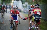 Lars Van der Haar (NLD/Giant-Shimano) congratulated (for his podium finish) by Laurens Sweeck (BEL/Corendon-Kwadro) after the finish line<br /> <br /> GP Neerpelt 2014