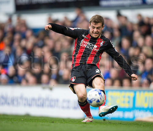 03.04.2015.  Ipswich, England. Skybet Championship. Ipswich Town versus AFC Bournemouth. Bournemouth's Ryan Fraser gets his cross into the box as his side push for an equaliser.